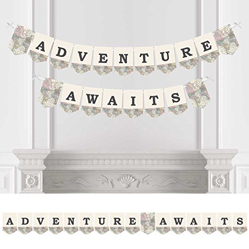 Big Dot of Happiness World Awaits - Travel Themed Party Bunting Banner - Map Party Decorations - Adventure Awaits -