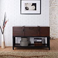 ioHOMES Tessane Industrial Console Table, Vintage Walnut