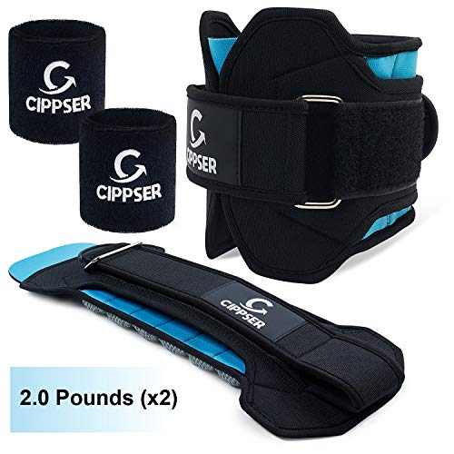 CIPPSER Premium Ankle Weights for Women & Men | Exercise Leg Weights Great for Glutes Workout, Running, Lifting, Jogging or Cardio | 1 Pair x 3 Sizes (2, 4, 6lbs) | B0NUS 2 Wristbands