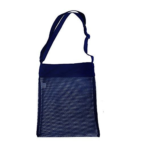 Bunte leichte Mesh Beach Taschen Seashore Schatz Jagd Taschen mit Klettverschluss und verstellbaren Strap 29 x 35 cm (8 Stück) Mehrfarbig ANGHdN
