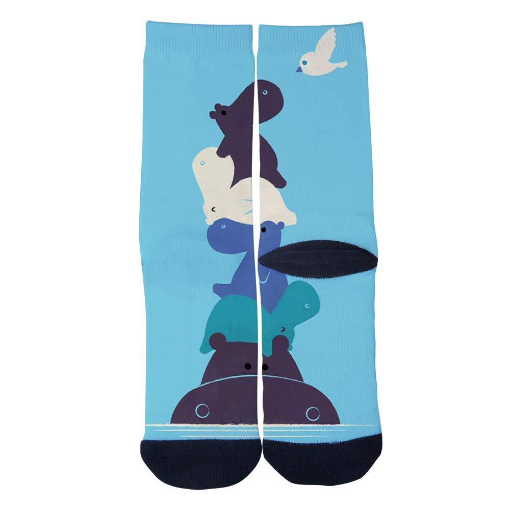 TheFun-Z Custom Funny Hippos Socks Novelty Funny Cartoon Crew Socks Elite Casual Socks