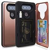 TORU CX Pro LG V20 Wallet Case Pink with Hidden ID Slot Credit Card Holder Hard Cover, Mirror & USB Adapter for LG V20 - Rose Gold