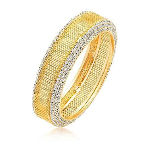 Efulgenz Indian Bollywood Traditional Ethnic 18 K Gold Plated White Cubic Zirconia Faux Rhinestone Studded Filigree Style Bracelets Bangle Set Wedding Jewelry For Women by Efulgenz