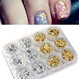 Aribelly 12 PCS Nail Art Flake Chip Foil Gold Silver Paillette DIY Acrylic UV Gel