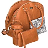 Isoki Madame Polly Baby Diaper Bag | Large Tan Brown Pack for your Boy and Girl | Organizer Bags for Travel | Gift Set includes Changing Mat, Purse and Bottle Tote