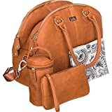 Isoki Madame Polly Baby Diaper Bag   Large Tan Brown Pack for your Boy and Girl   Organizer Bags for Travel   Gift Set includes Changing Mat, Purse and Bottle Tote