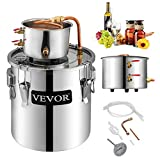VEVOR Moonshine Still 5 Gal 21L Stainless Steel Water Alcohol Distiller Copper Tube Home Brewing Kit Build-in Thermometer for DIY Whisky Wine Brandy, 5Gal, 2 pots