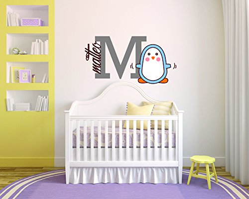 """Custom Name Merry Penguin-- South Pole Animal Born New Princess-Prince- Baby - Wall Decal Nursery For Home Bedroom Children (Wide 32""""x 20"""" Height)"""