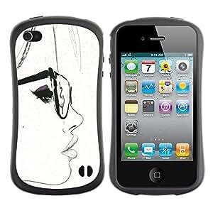 Suave TPU GEL Carcasa Funda Silicona Blando Estuche Caso de protección (para) Apple Iphone 4 / 4S / CECELL Phone case / / White Hipster Smart Sketch Woman /