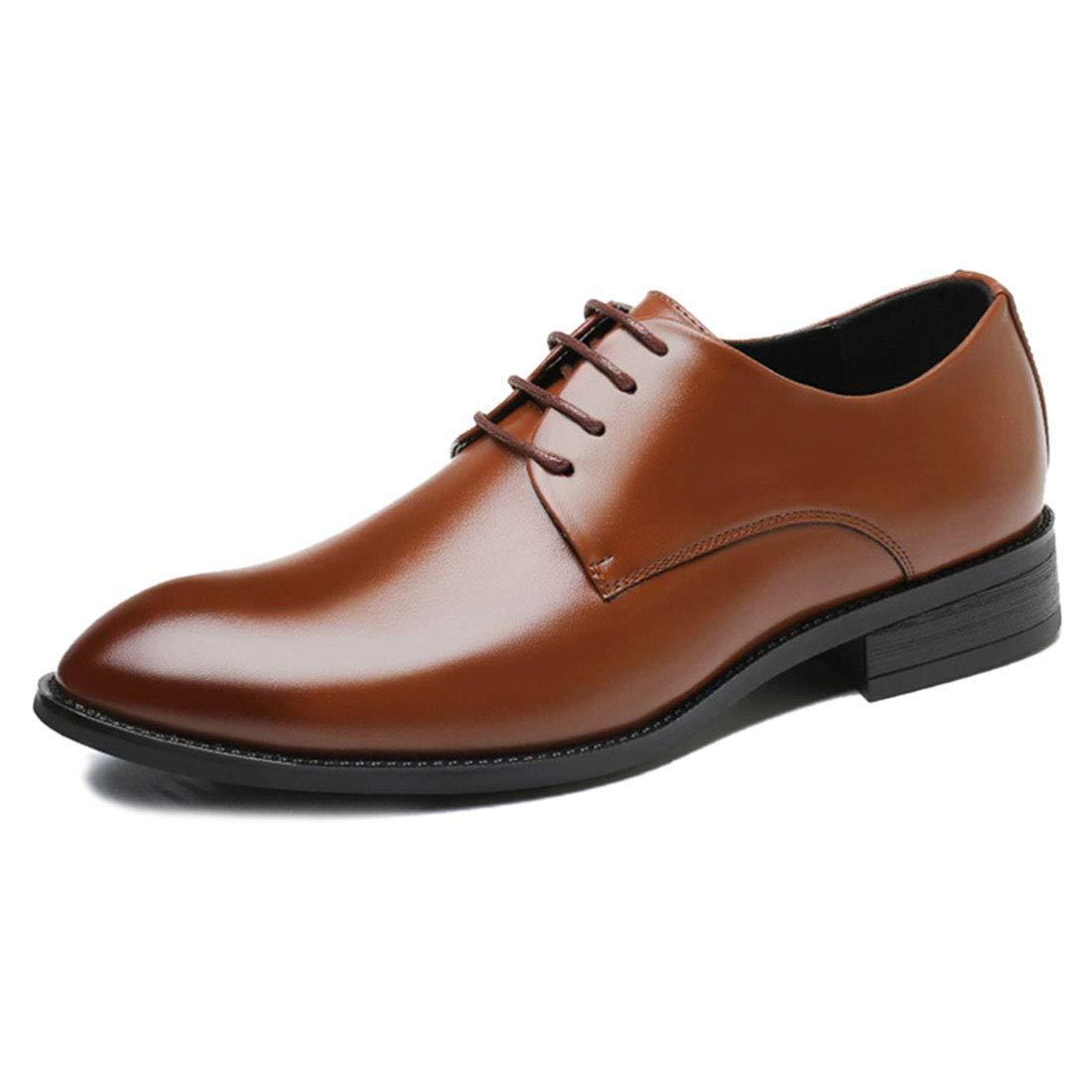 Jiyaru Mens Lace Up Oxford Shoes Formal Dress Business Flats Brown Asian 41 / US 8