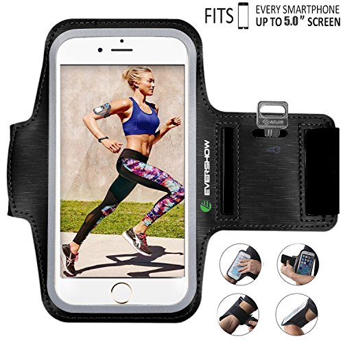 EVERSHOW iPhone Xs Armband, Premium Water Resistant Sport Armband for iPhone 6, 6S/Xs/X/7/8 Case Running Pouch Touch Compatible Key Holder | Also Fits Galaxy S8/S9/S7