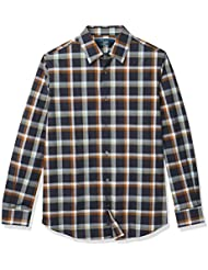 Perry Ellis Men's Multi-Colored Ombre Plaid Stretch Long Sleeve Button-Down Shirt