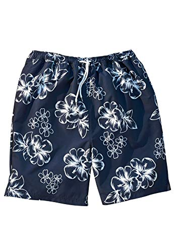 - KingSize Men's Big & Tall Hibiscus Print Swim Trunks, Navy Tall-5XL