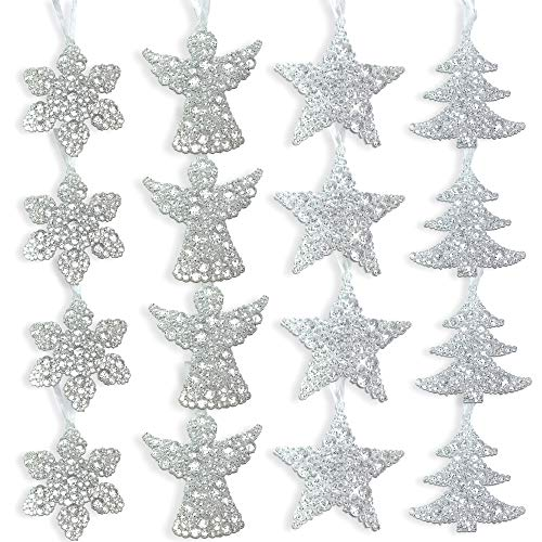 (BANBERRY DESIGNS Clear Glittery Ornament Set - Pack of 16 Assorted Christmas Ornaments - Snowflakes, Angels, Trees and Stars - Acrylic Christmas Decorations)