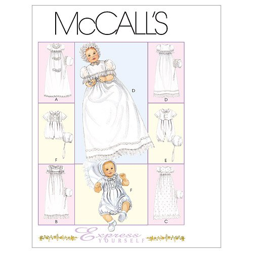 McCall's Patterns M6221 Infants' Christening Gown, Rompers With Snap Crotch In 2 Lengths and Bonnets, All Sizes - Edge Romper