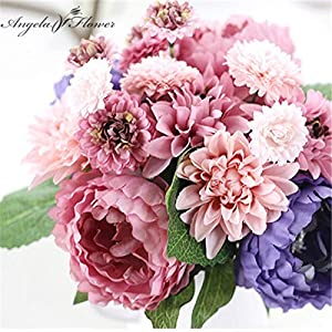 ShineBear Wedding Bride Hand Bouquet Rosemary Peony Flower Bouquet vivifying Flower Home Furnishing and Decorative Flower - (Color: B) 2