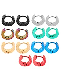 SM SunniMix 14Pcs Mixed Colors Huggie Hoop Jewellery Round Ear Snap Earrings Mens Unisex