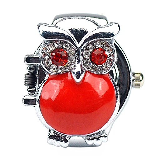 Women's Fashion Lovely Owl Crystals Quartz Finger Ring Watch with Gift Box (Red)