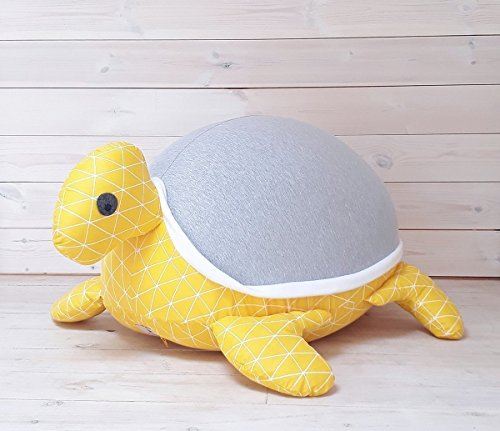 Stuffed animals bean bag chair Kids & Baby Floor pillow Giant turtle grey and yellow color, with an internal pillow for easy wash and maintenance. by Pockets Baby & kids