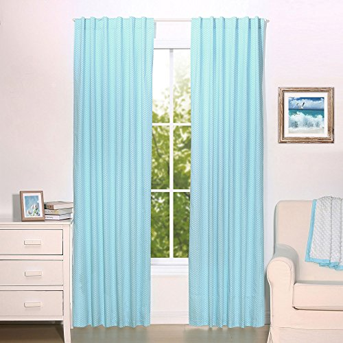 - Teal Blue Dot Print Blackout Window Drapery Panels - Two 84 by 42 Inch Panels