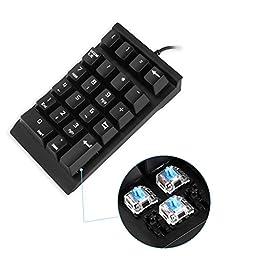 Mechanical Numeric Keypad,Jelly Comb USB Braid Cable Numpad 22-key Number Pad - Black