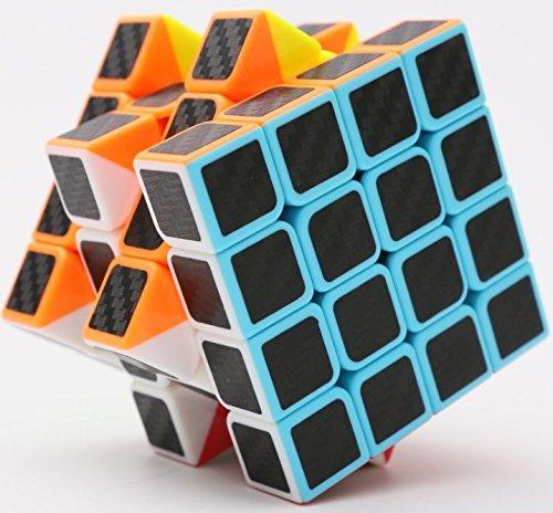 cfmour Rubiks Cube, Rubix Cube Speed Cube 4x4x4, Smooth Magic Carbon Fiber Sticker Rubix Speed Cubes, Enhanced Version,Black