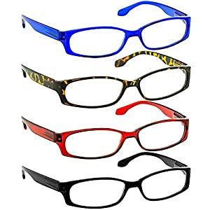Reading Glasses 1.50 Black Tortoise Red Blue (4 Pack) F503 TruVision Readers