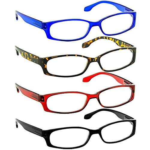 Reading Glasses 2.50 Black Tortoise Red Blue (4 Pack) F503 TruVision - 4 Sunglasses Pack