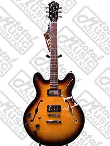 Left Hand Oscar Schmidt OE30 Delta King Semi Hollow Electric Guitar, Tobacco Sunburst, Lefty, OE30TSLH
