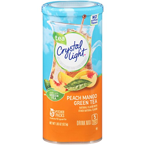 Crystal Light Drink Mix, Peach Mango Green Tea, Pitcher Packets, 5 Count (Pack of 12 Canisters) Green Canister