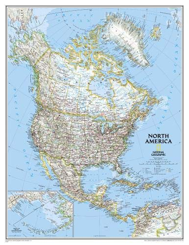 (National Geographic: North America Classic Enlarged Wall Map (35.75 x 46.25 inches) (National Geographic Reference Map))
