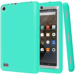 Jwest Fire 7 2015 Case - Light Weight [Anti Slip] [Kids Friendly] Shock Proof Protective Cover for Amazon Fire 7 Tablet (Fire 7 inch Display 5th Generation),Mint Green/Gray
