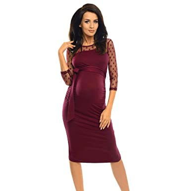cb7e1dde730 ILUCI Women s Sexy Maternity Dress Ruched Bodycon Pregnancy Dress with  Polka Dot Lace Casual Nursing O