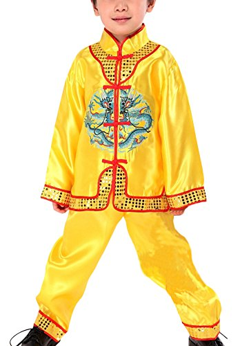 CRB Fashion Little Boys Toddler Kung Fu Chinese Arts Asian Oriental Shirt Pants Outfit Set Costume (3 to 4 Years Old, Yellow (Halloween Costume Ideas Gold Pants)