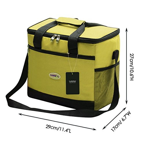 Ladyker Large Insulated Cooler Bag,Picnic Bag,Lunch Bag,Lunch Box,13L Picnic Lunch Cooler Tote Bag with Zipper for Both Women and Men,Green