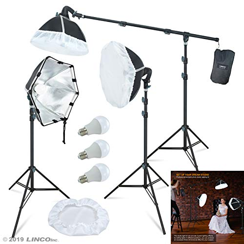 LINCO Lincostore Photography Studio Lighting Kit Arm for Video Continuous Lighting Shadow Boom Box Lights Set Headlight Softbox Setup with Daylight Bulbs 2400 Lumens AM261