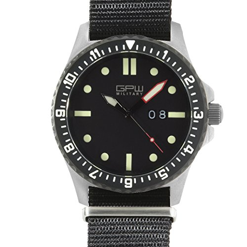 German Military Titanium Watch. GPW Big Date. 200M W/R. Sapphire Crystal. Black Nylon - Military Grade Titanium