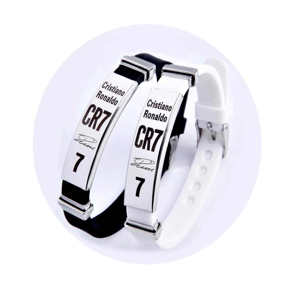 Lorh's store Football Cristiano Ronaldo Inspirational Signature Adjustable Wristbands CR7 Sport Silicone Bracelet 2 Pcs Lorh' s store