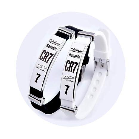 informazioni per d07f3 b6874 Lorh's store Calcio Cristiano Ronaldo firma ispiratrice braccialetti  regolabili CR7 silicone sportivo Bracciale 2 pezzi