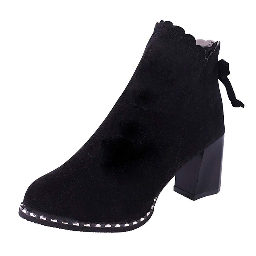 Logobeing Botines Mujer Tacon Invierno Planos Tacon Ancho Piel Botas de Mujer Medio Zapatos Combat Casual Planas Zapatos de Plataforma-5577(35,Marrón)