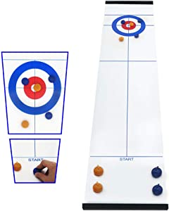 Esthesia Tabletop Curling Game, Compact Curling Family Games for Kids and Portable Mini Tabletop Games for Family/School/Travel with 8 Shuffleboard Pucks