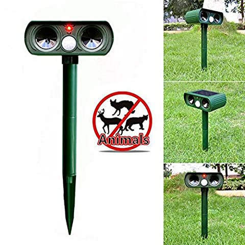 Solar Animal Repeller, Cat Repellent Ultrasonic with Motion Sensor, Power Pest Repeller Outdoor Waterproof Dog Mice Bird Deterrent Spike for Yard, Lawn, Garden with LED Flashing Light, (Ultrasonic Electric Repellent)