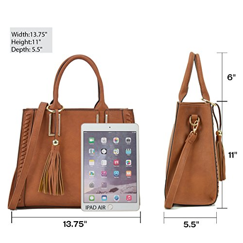 Designer Strap Purses Vegan Women Tassel Shoulder for Satchel Lady Handbags with Bags Camel Leather Shoulder 5wfqgcx