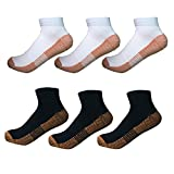 6 Pairs Copper Antibacterial Athletic Ankle Sport Socks For Men and Women (L/XL, BLACK&WHITE)
