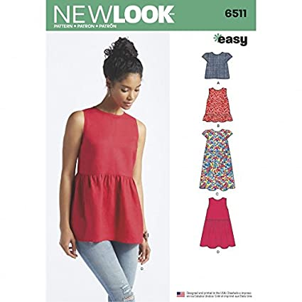 b0073f593765 Amazon.com  New Look Ladies Easy Sewing Pattern 6511 Summer Tops ...