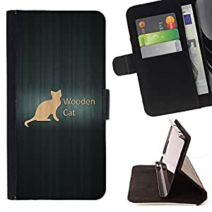 DEVIL CASE - FOR HTC DESIRE 816 - Wooden Cat - Style PU Leather Case Wallet Flip Stand Flap Closure Cover