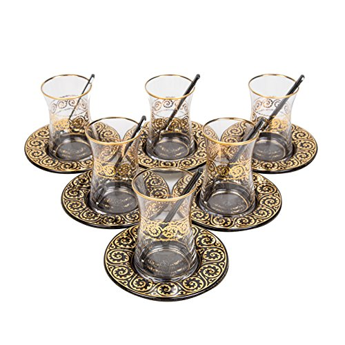 TeaCay Turkish Tea Glass Cups , Tea Glass Set Hale Black/Gold , Tea Glass Gift , Set of 6 ( 6 x Tea Glass + 6 Under Plate + 6 Tea Spoon )