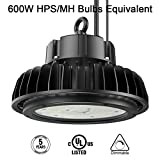 LED High Bay Light,150W UFO Hi-Bay Lighting(600W HID/HPS Equivalent) 19500 Lumens 130Lm/W Sosen Driver Dimmable 5000K,Lumileds SMD 3030 LED for Garage Gym Workshop Warehouse, UL Listed, Well Don