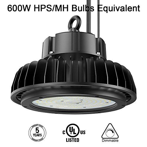 Adiding LED High Bay Light,150W UFO Hi-Bay Lighting(600W HID/HPS Equivalent) 19500 Lumens 130Lm/W Sosen Driver Dimmable 5000K,Lumileds SMD 3030 LED for Garage Workshop Warehouse,UL - Warehouse Shop