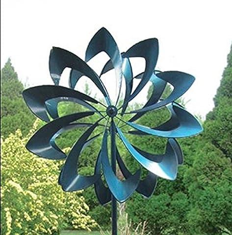Kinetic Windmill Brilliant Bloom Spinner Blue - Kinetic Metal Sculpture